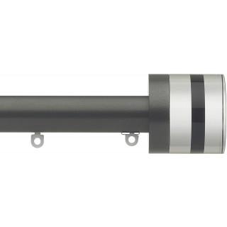 Silent Gliss 6130 Metropole 30mm Gunmetal Tinted Black Crystal Cylinder Aluminium Curtain Pole