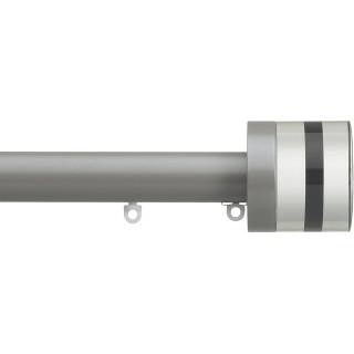 Silent Gliss 6130 Metropole 30mm Slate Grey Tinted Black Crystal Cylinder Aluminium Curtain Pole