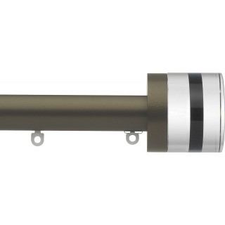 Silent Gliss 6130 Metropole 30mm Antique Bronze Tinted Brown Crystal Cylinder Aluminium Curtain Pole