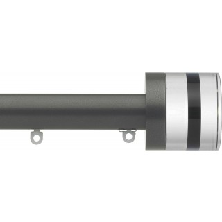 Silent Gliss 6130 Metropole 30mm Gunmetal Tinted Brown Crystal Cylinder Aluminium Curtain Pole