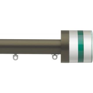 Silent Gliss 6130 Metropole 30mm Antique Bronze Tinted Emerald Crystal Cylinder Aluminium Curtain Pole