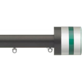 Silent Gliss 6130 Metropole 30mm Bronze Tinted Emerald Crystal Cylinder Aluminium Curtain Pole