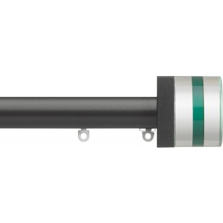 Silent Gliss 6130 Metropole 30mm Charcoal Tinted Emerald Crystal Cylinder Aluminium Curtain Pole