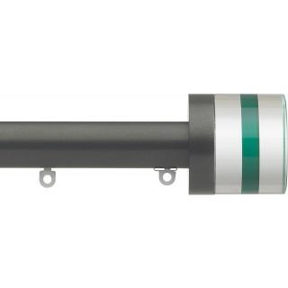 Silent Gliss 6130 Metropole 30mm Gunmetal Tinted Emerald Crystal Cylinder Aluminium Curtain Pole