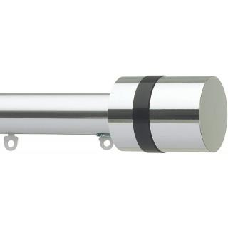 Silent Gliss 6130 Metropole 30mm Chrome Black Disc Strata Aluminium Curtain Pole