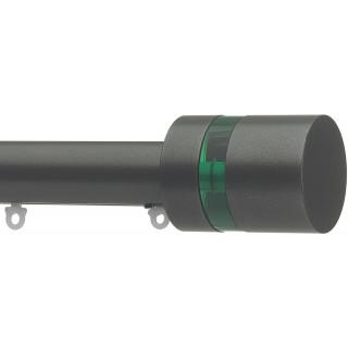 Silent Gliss 6130 Metropole 30mm Gunmetal Pale Green Disc Strata Aluminium Curtain Pole