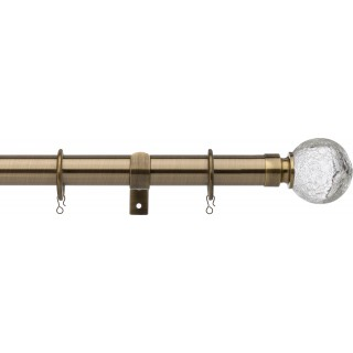 Vogue Deluxe Cracked Glass 28mm Antique Brass Metal Curtain Pole