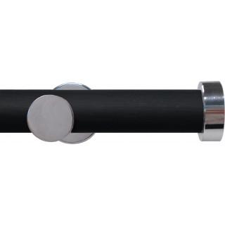 Swish Soho 28mm Black Wood (Vamp) Metal Eyelet Curtain Pole