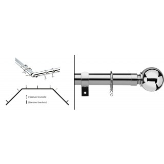 Vogue Deluxe Ball 28mm Chrome Metal Bay Curtain Pole Kit