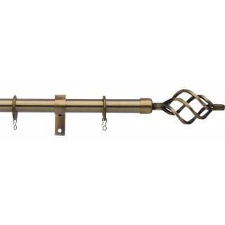 Vogue Deluxe Cage 16/19mm Telescopic Antique Brass Metal Curtain Pole