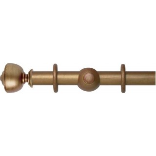 Museum Handcrafted 45mm Red-Gold Effect Wood Curtain Pole