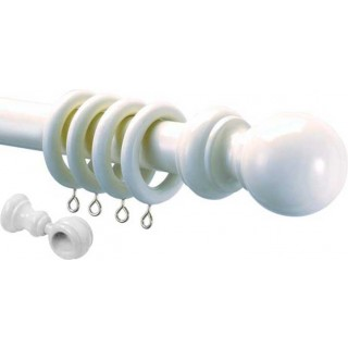 Speedy County Wood 28mm White Effect Wood Curtain Pole