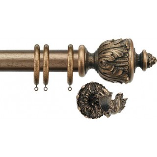 Jones Florentine Acanthus 50mm Antique Gold Effect Wood Curtain Pole