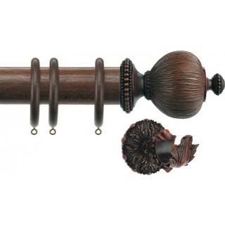Jones Florentine Acanthus 50mm Oak Effect Wood Curtain Pole