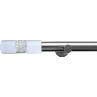 Jones Lunar 28mm Matt Nickel Effect Metal Eyelet Curtain Pole