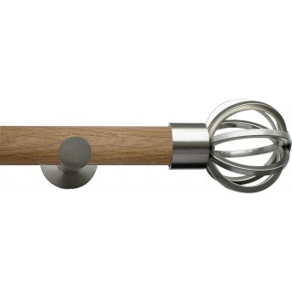 Jones Lunar 28mm Real Oak Eyelet Curtain Pole Matt Nickel Fittings